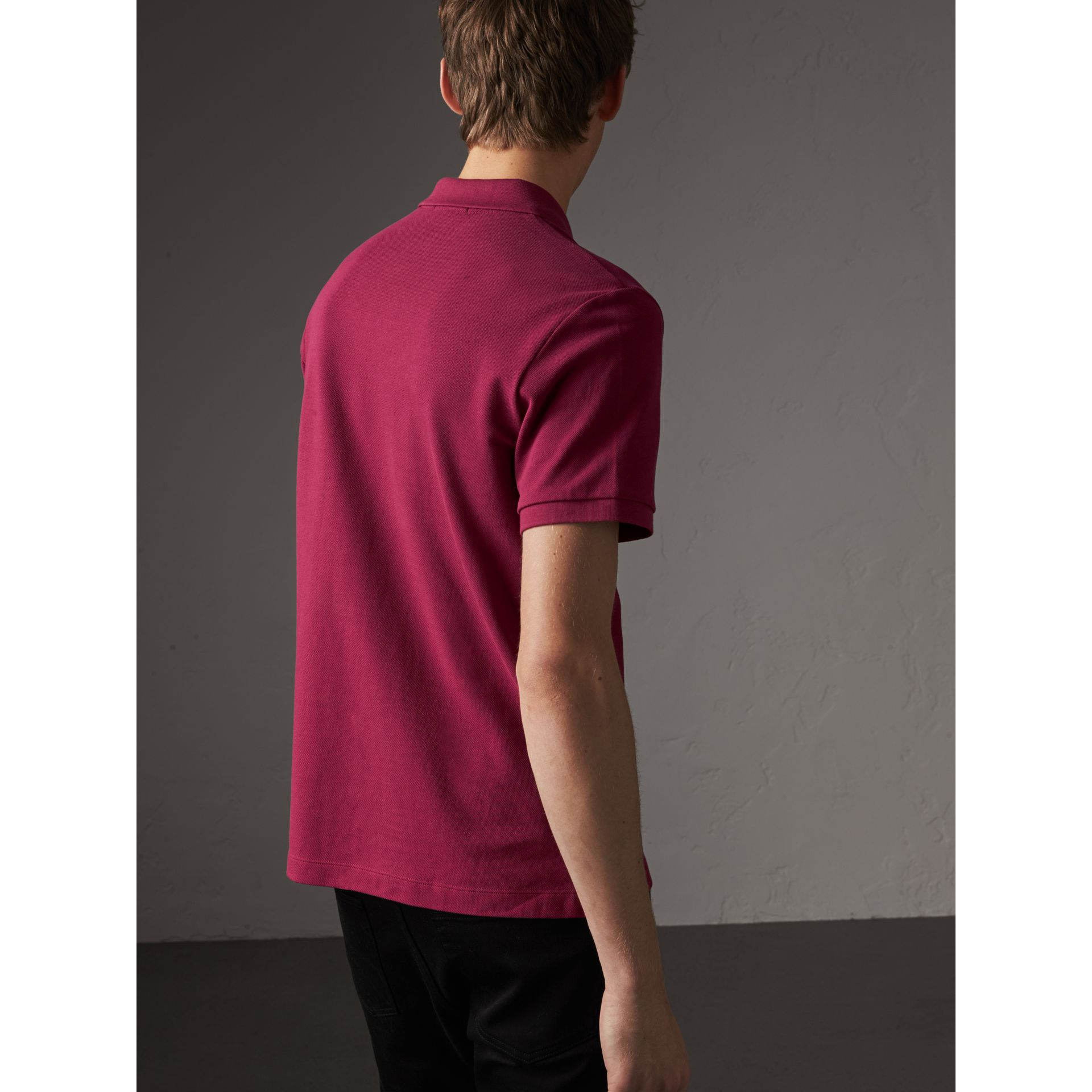 Check Placket Cotton Piqué Polo Shirt in Raspberry Sorbet - Men | Burberry Australia - gallery image 3