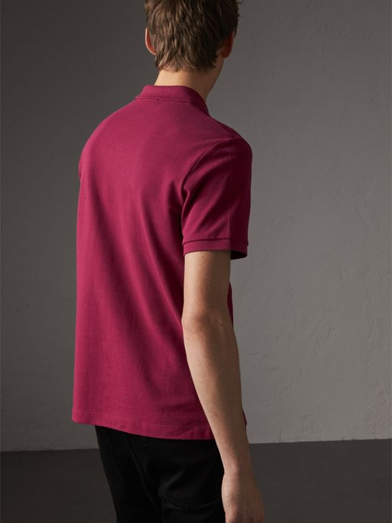 Check Placket Cotton Piqué Polo Shirt in Raspberry Sorbet - Men | Burberry Australia - cell image 2