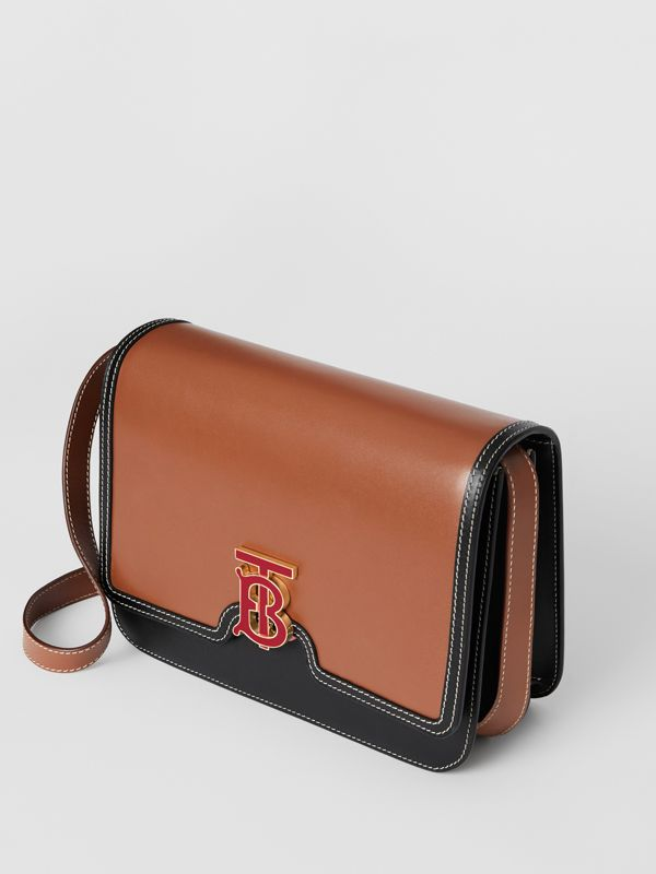 Medium Two-tone Leather TB Bag in Malt Brown/black - Women | Burberry Australia - cell image 3