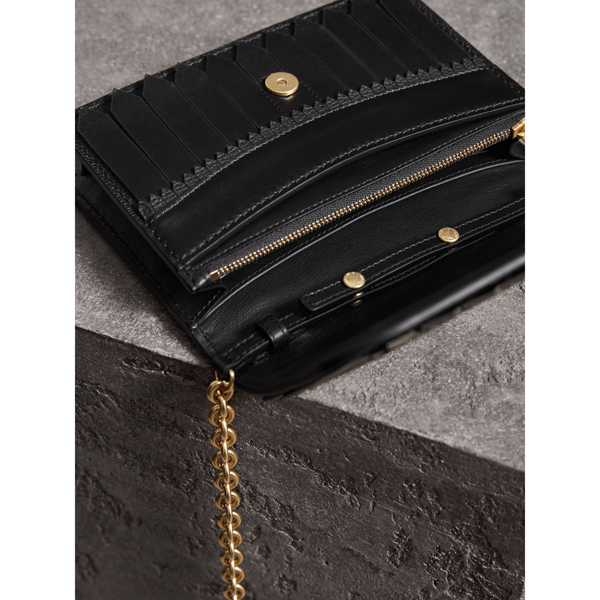 Brogue Detail Leather Wallet with Detachable Strap in Black - Women | Burberry Singapore - gallery image 5