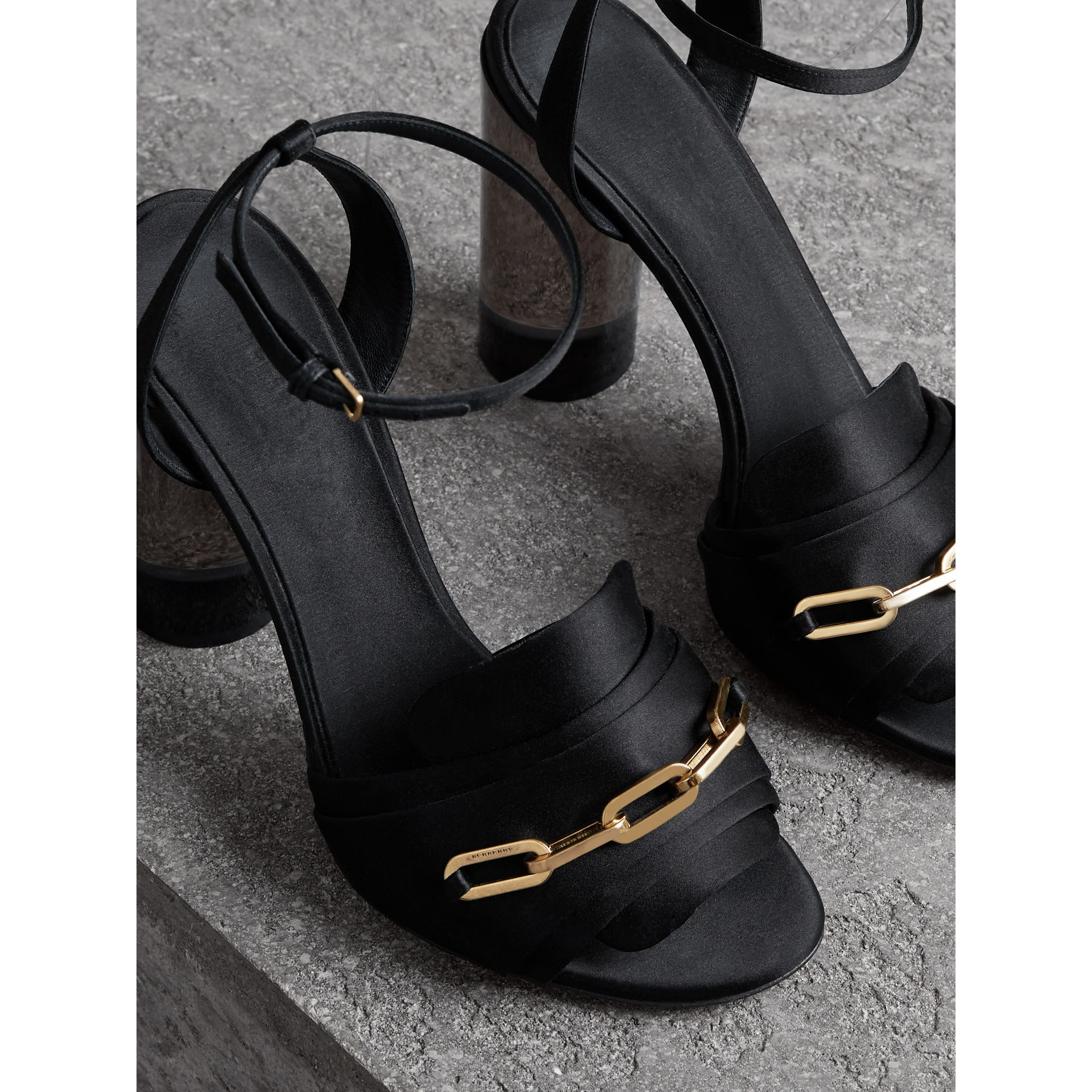 Link Detail Perspex Heel Satin Sandals in Black - Women | Burberry United Kingdom - gallery image 4