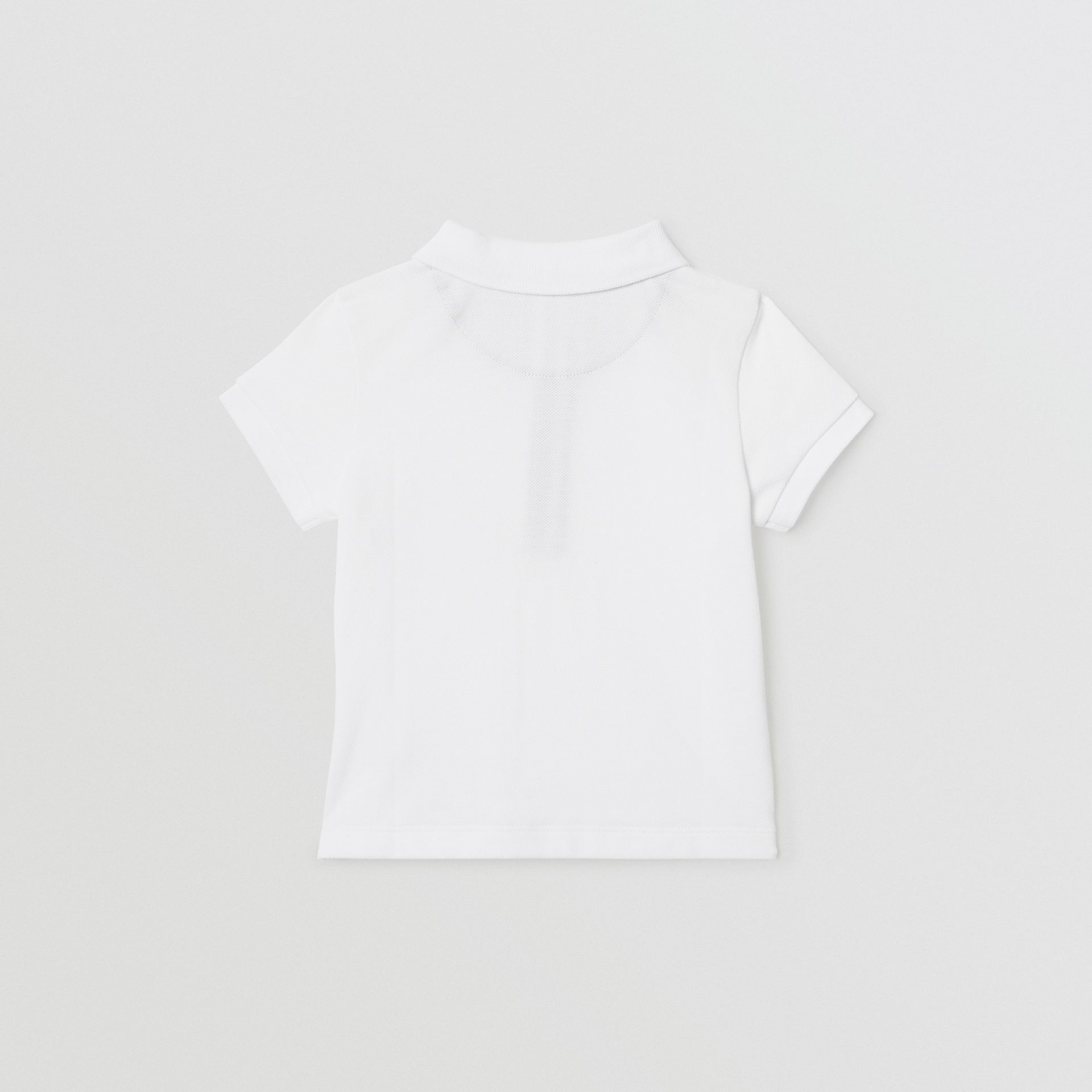 Icon Stripe Placket Cotton Piqué Polo Shirt in White - Children | Burberry - gallery image 3