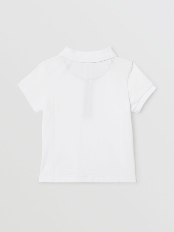 Icon Stripe Placket Cotton Piqué Polo Shirt in White - Children | Burberry United Kingdom - cell image 3