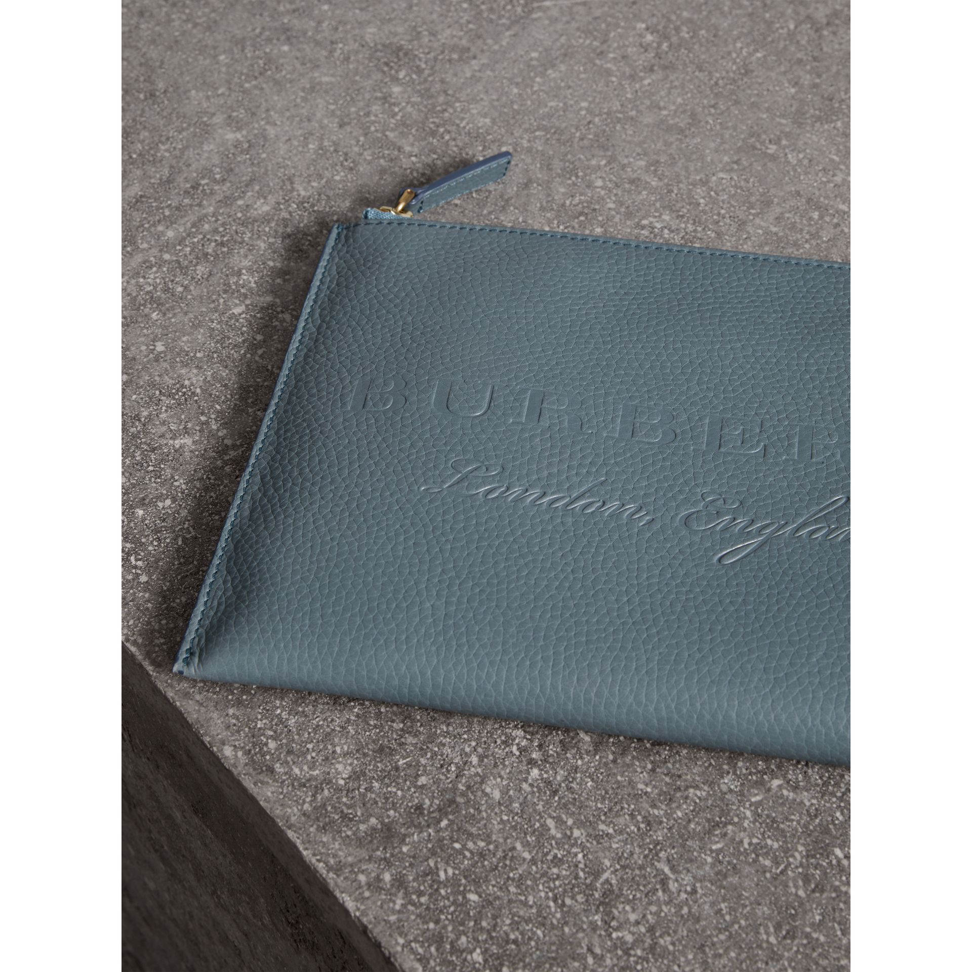 Embossed Leather Ziparound Pouch and Coin Case in Dusty Teal Blue | Burberry - gallery image 1