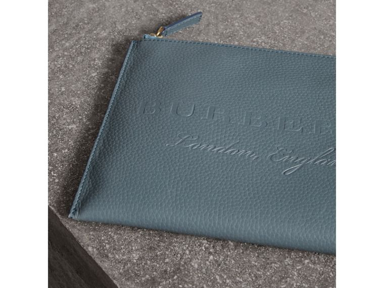 Embossed Leather Ziparound Pouch and Coin Case in Dusty Teal Blue | Burberry - cell image 1