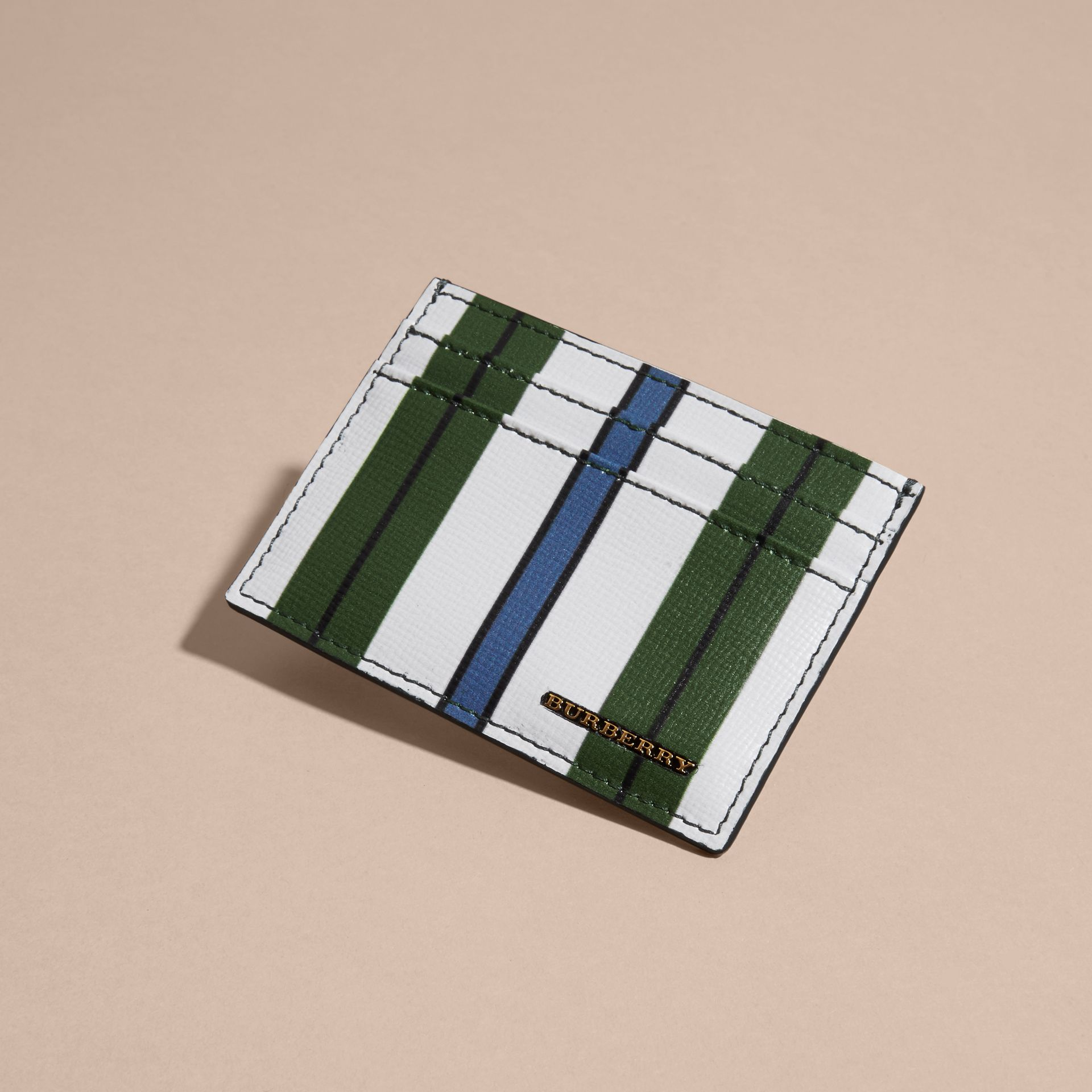 Pyjama Stripe London Leather Card Case Olive Green - gallery image 3