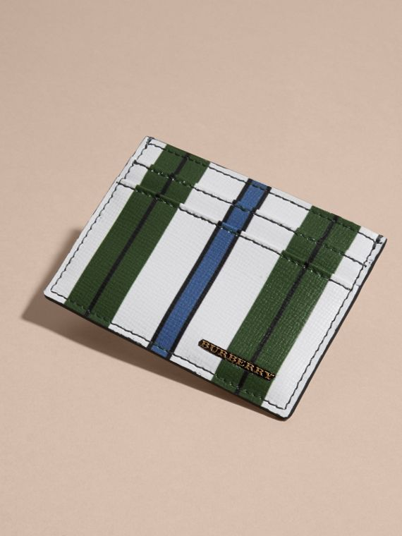 Olive green Pyjama Stripe London Leather Card Case Olive Green - cell image 2