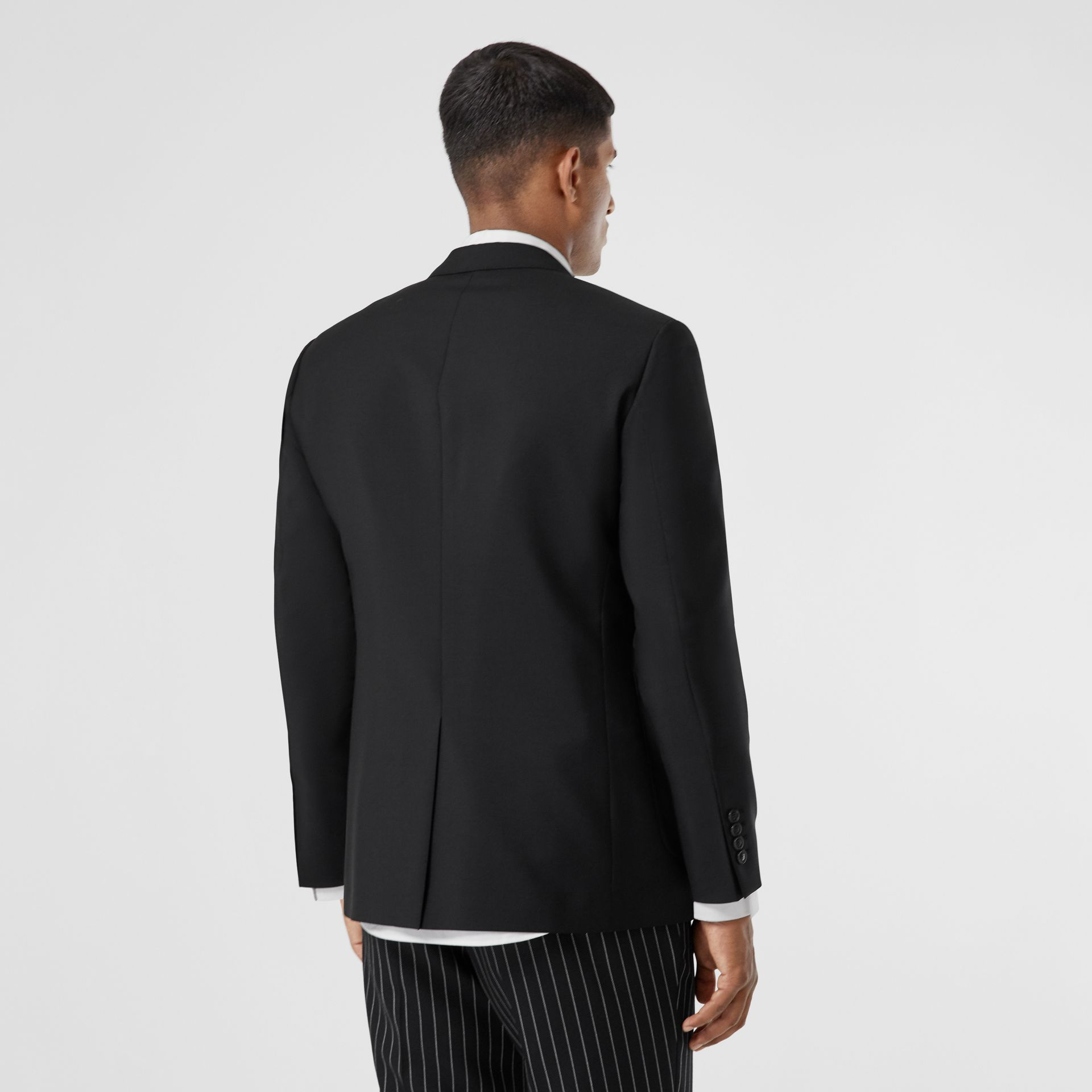 Slim Fit Monogram Motif Wool Mohair Tailored Jacket in Black - Men | Burberry - gallery image 2