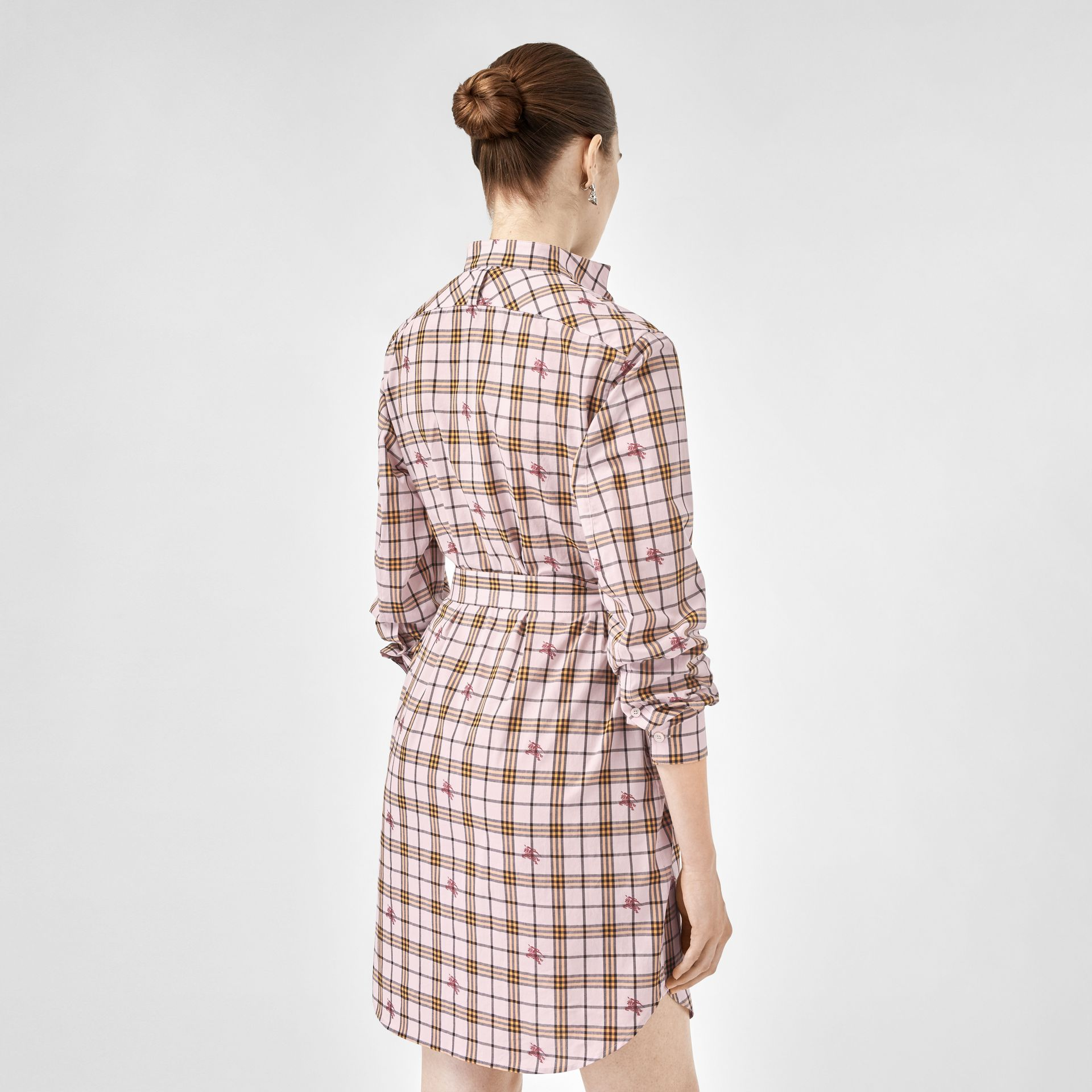 EKD Check Cotton Tie-waist Shirt Dress in Alabaster Pink - Women | Burberry United Kingdom - gallery image 2