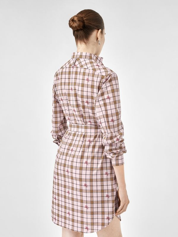 EKD Check Cotton Tie-waist Shirt Dress in Alabaster Pink - Women | Burberry - cell image 2