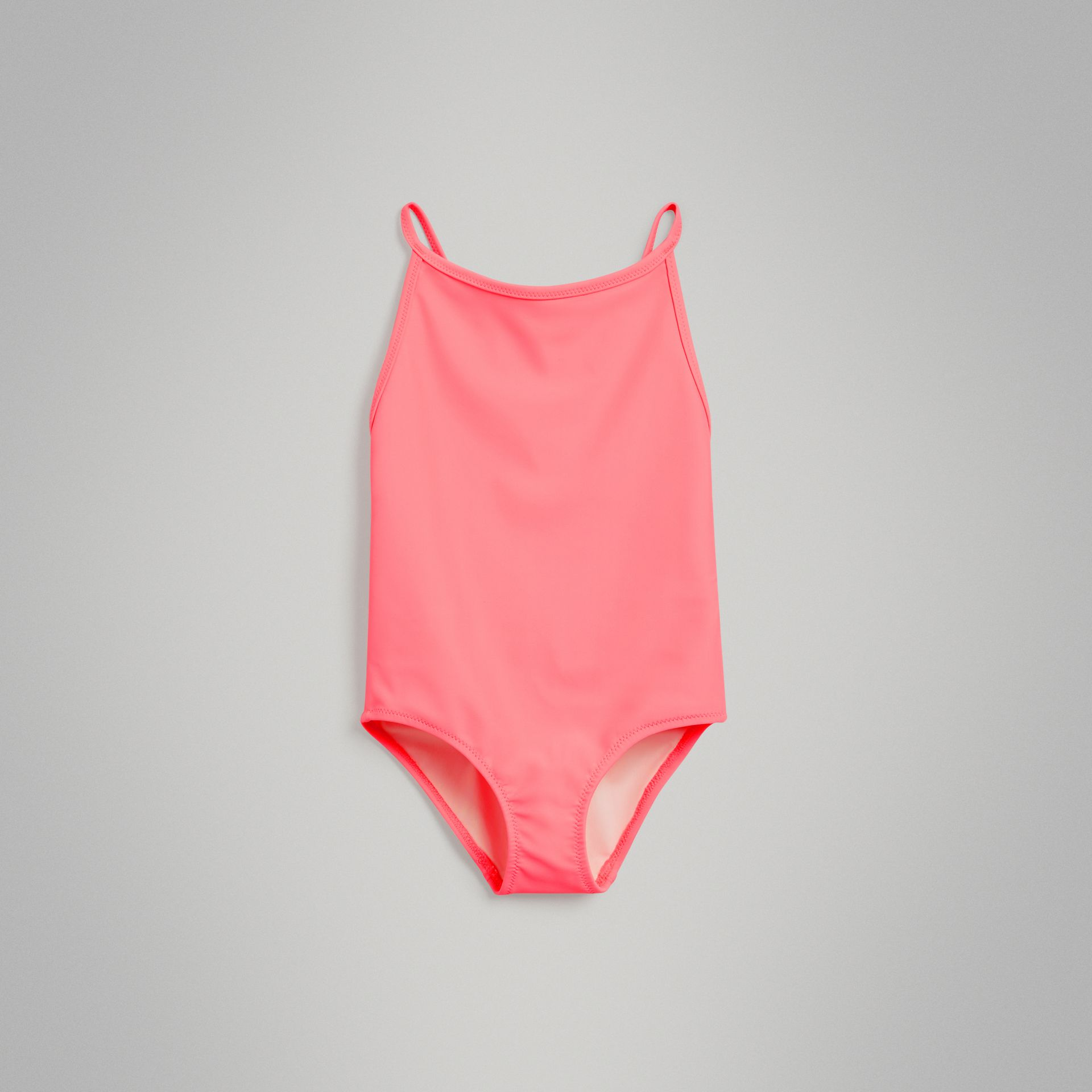 Check Piping One-piece Swimsuit in Bright Coral - Girl | Burberry - gallery image 0