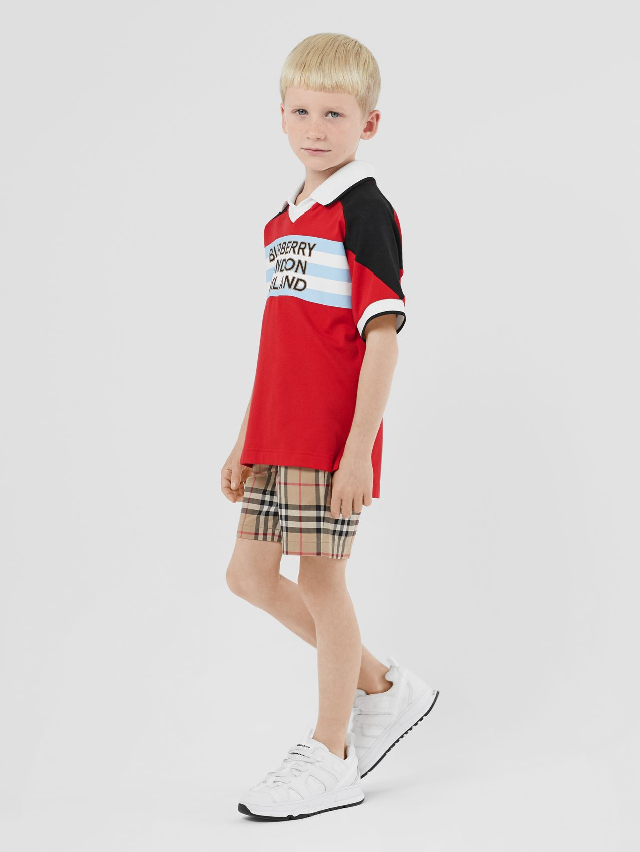 Logo Print Cotton Polo Shirt in Bright Red