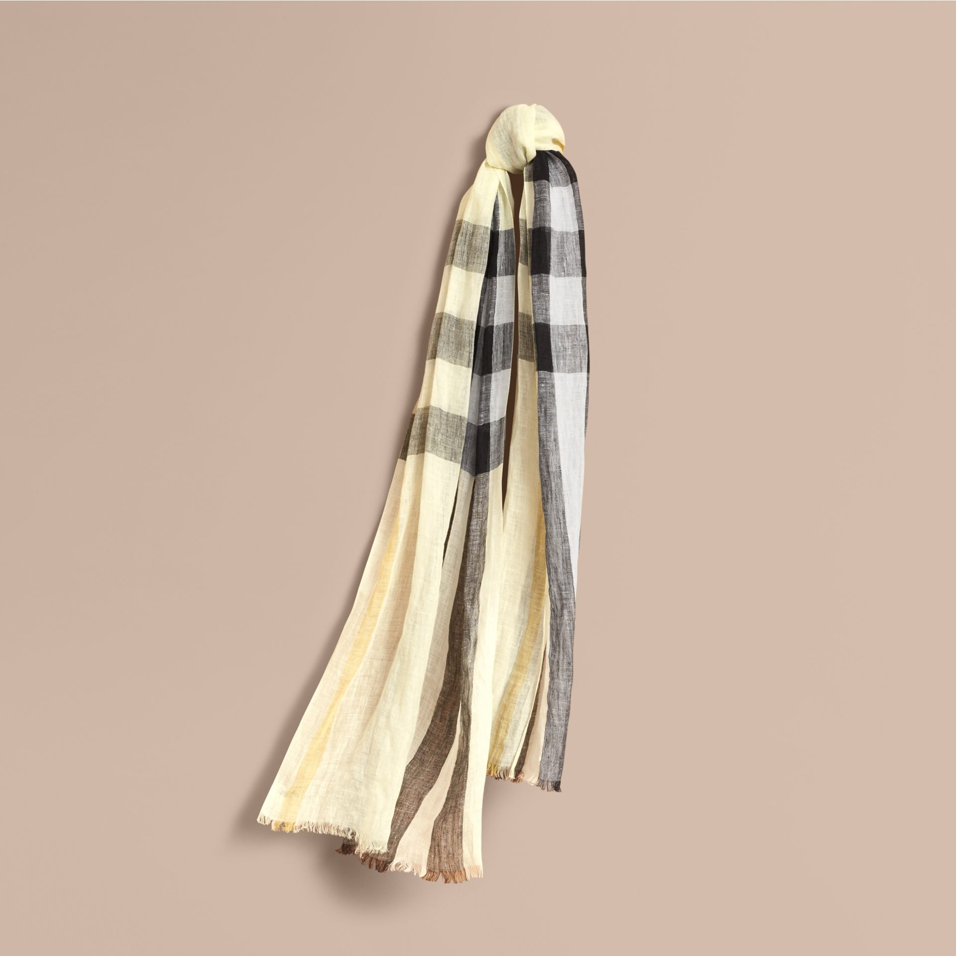Lightweight Check Linen Scarf in Chalk Yellow | Burberry - gallery image 1