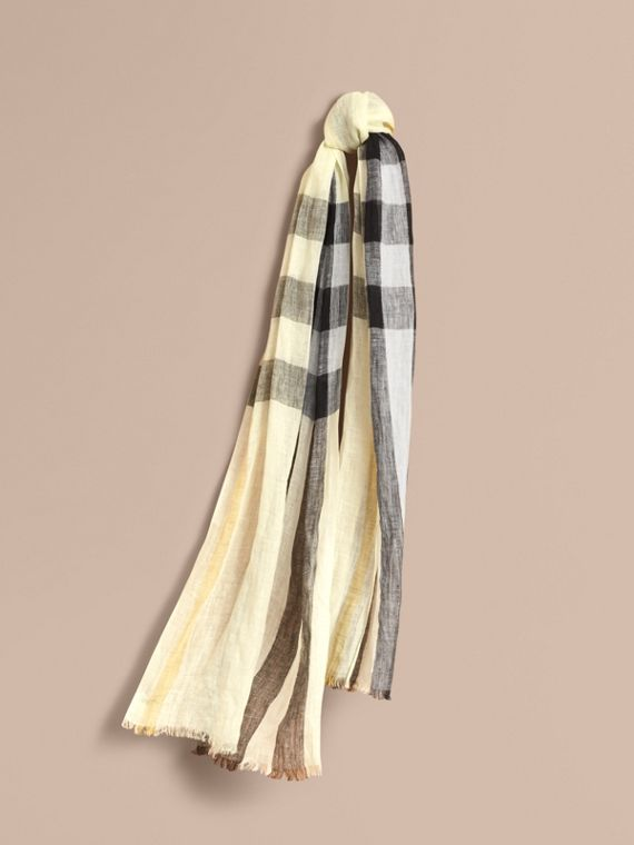 Lightweight Check Linen Scarf in Chalk Yellow