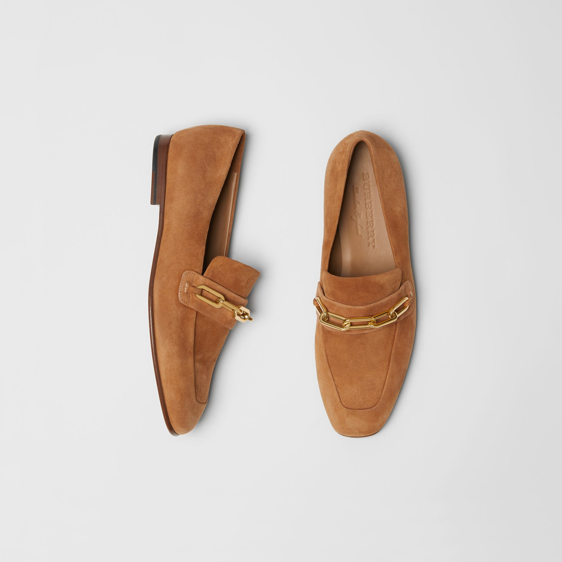 Link Detail Suede Loafers in Mid Camel - Women | Burberry - gallery image 0