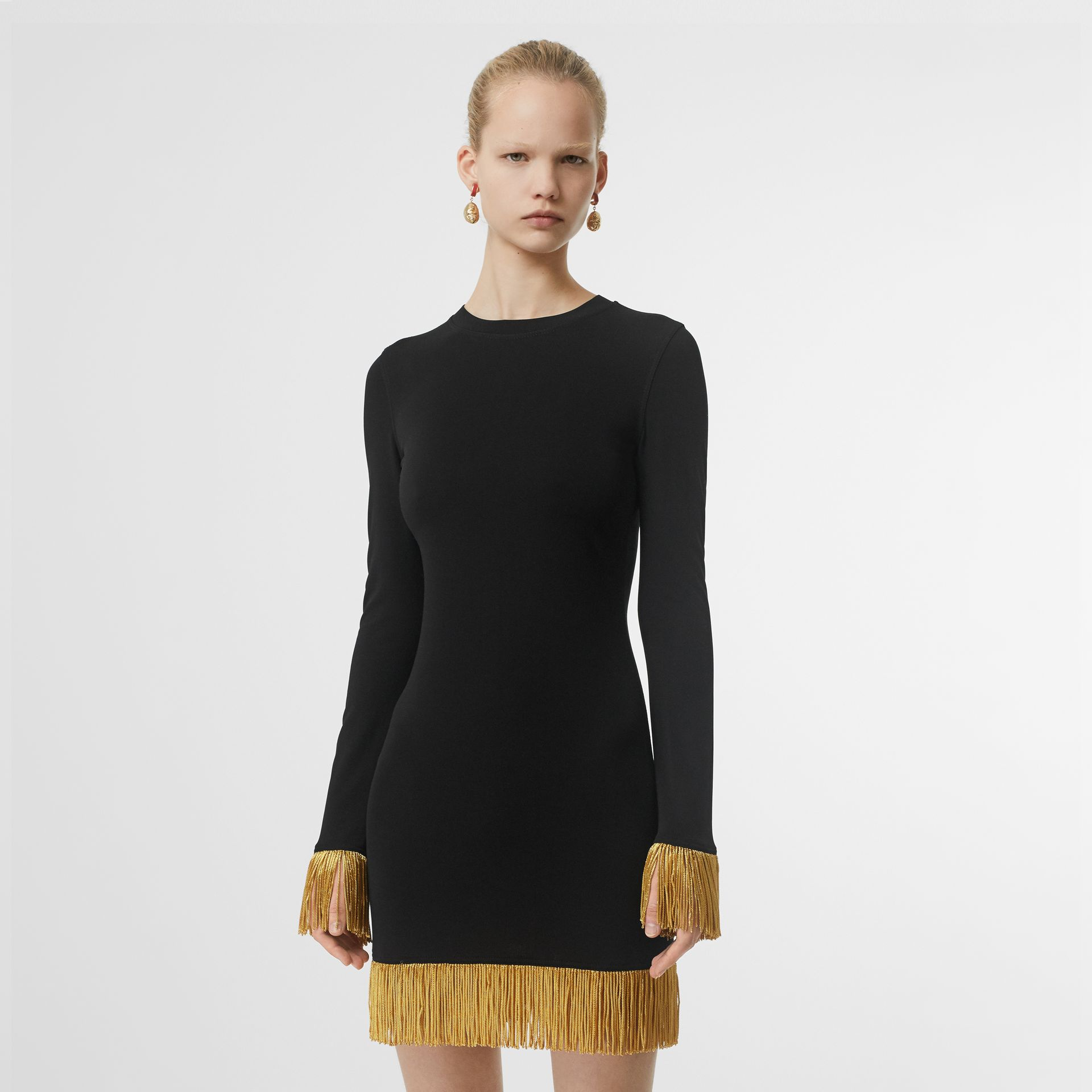 Metallic Fringe Detail Stretch Jersey Dress in Black - Women | Burberry - gallery image 0