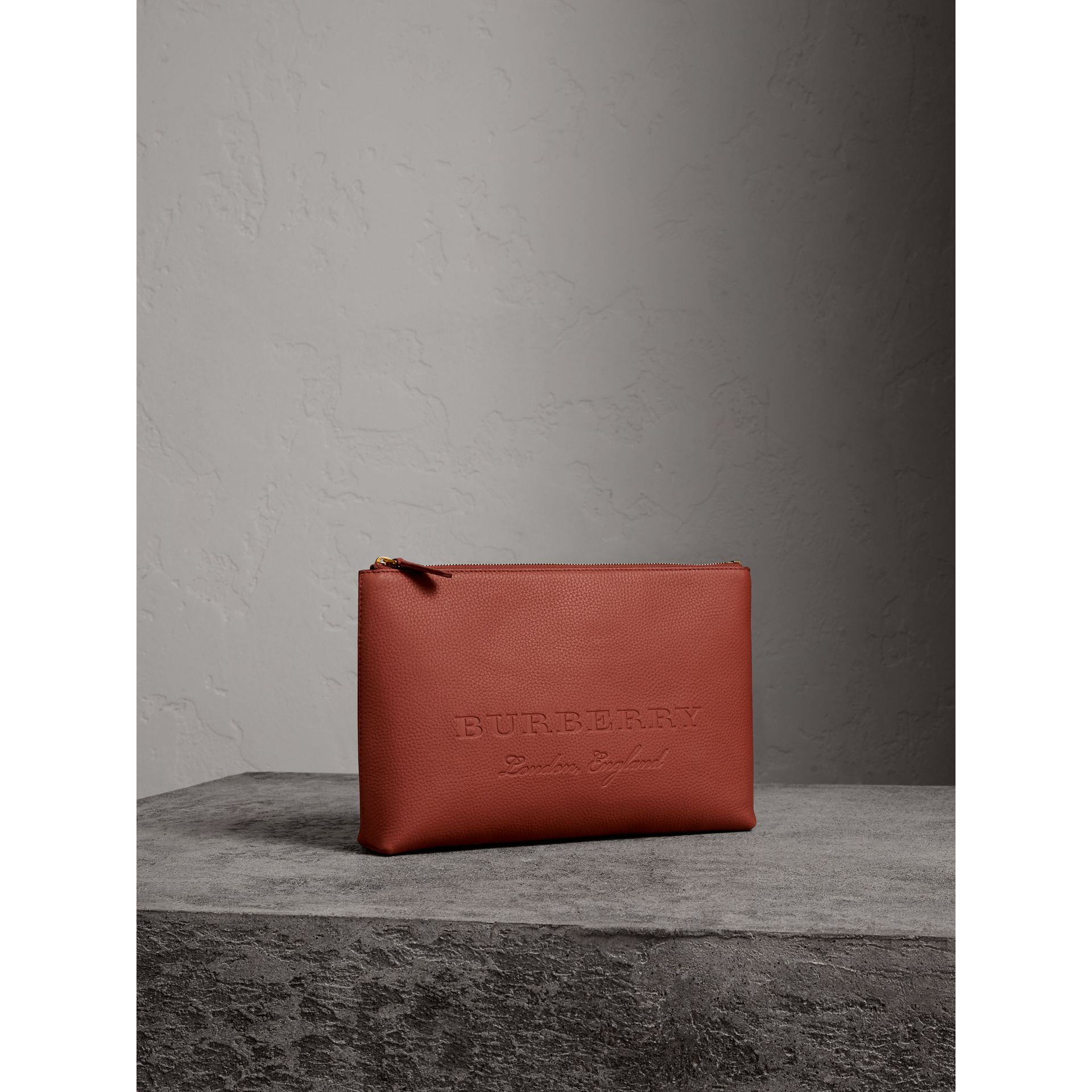 Large Embossed Leather Zip Pouch in Chestnut Brown | Burberry - gallery image 4
