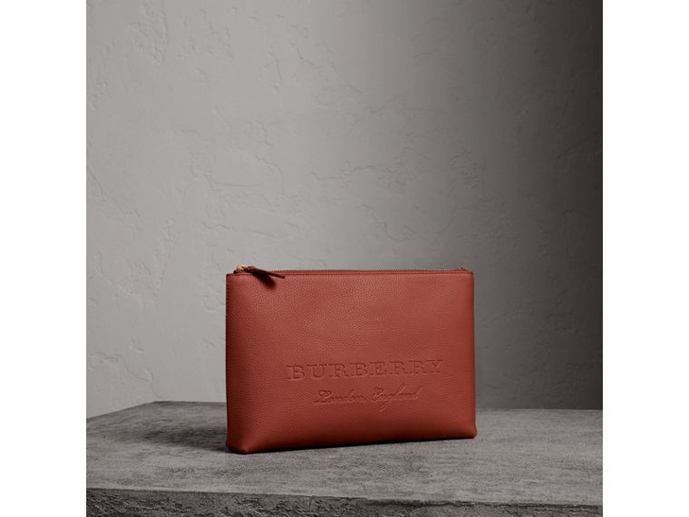 Large Embossed Leather Zip Pouch in Chestnut Brown - Men | Burberry - cell image 4