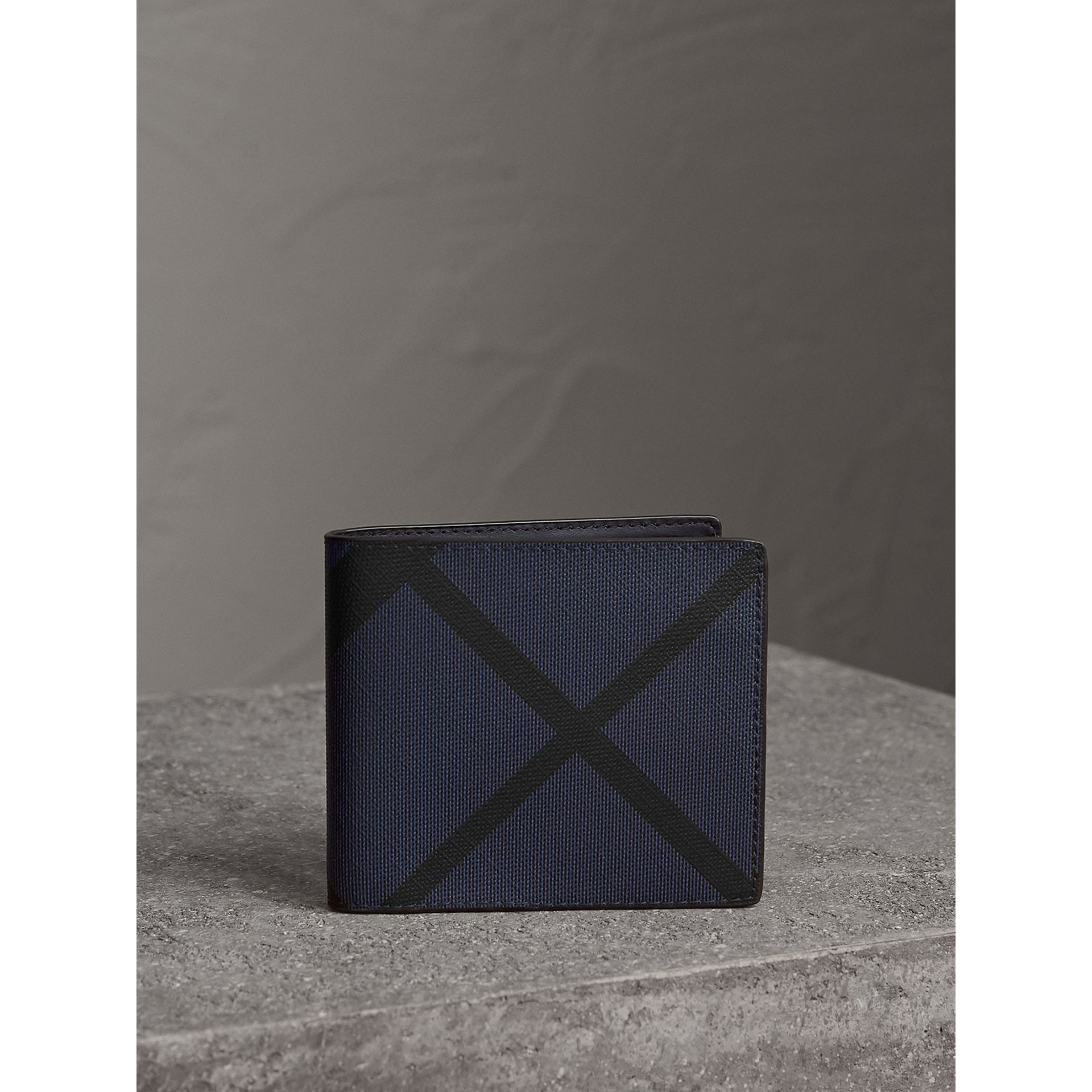 London Check International Bifold Wallet in Bright Lapis - Men | Burberry - gallery image 4