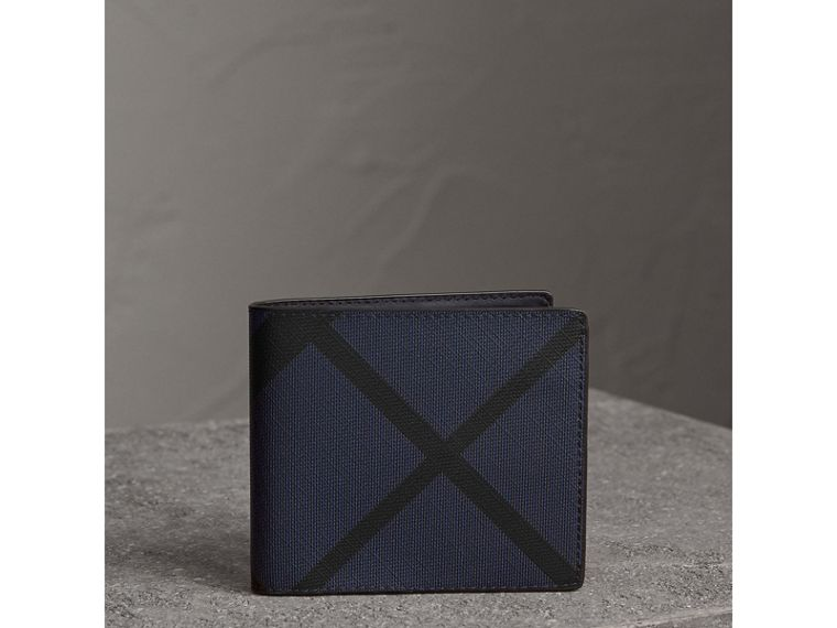 London Check International Bifold Wallet in Bright Lapis - Men | Burberry Australia - cell image 4