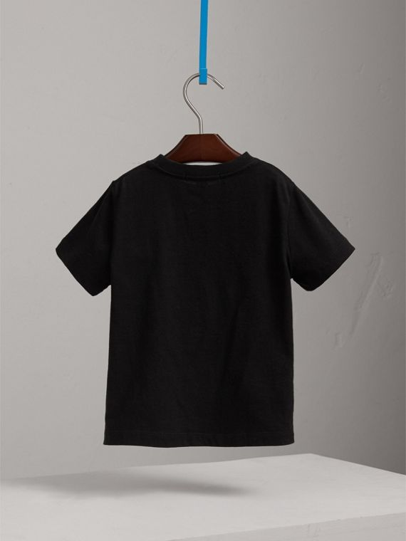 Check Pocket Cotton T-shirt in Black - Boy | Burberry - cell image 3