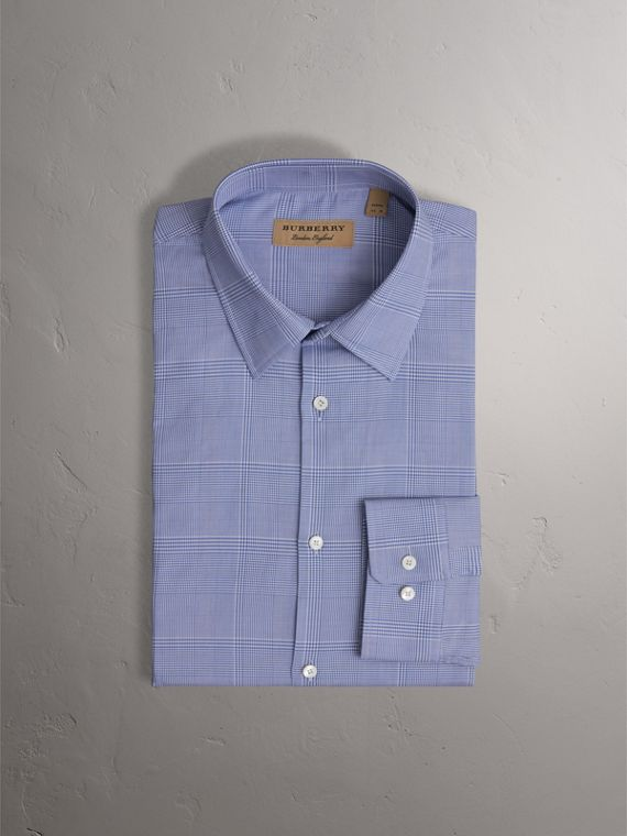 Modern Fit Check Cotton Shirt in City Blue - Men | Burberry United Kingdom - cell image 3
