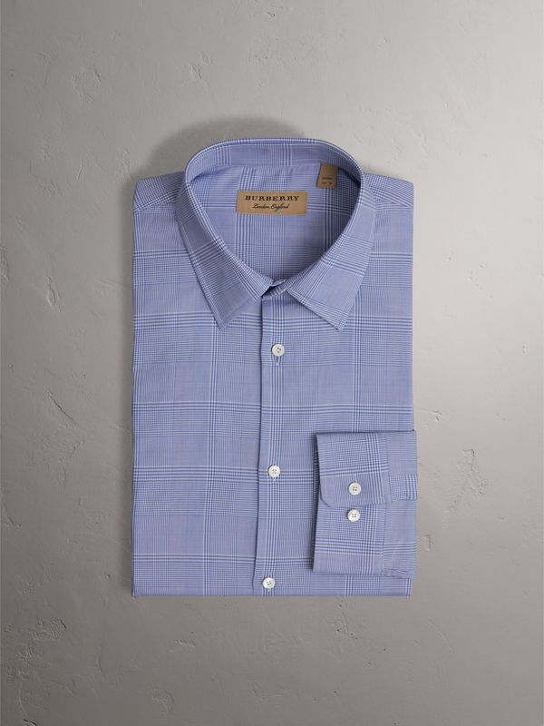 Modern Fit Check Cotton Shirt in City Blue - Men | Burberry - cell image 3