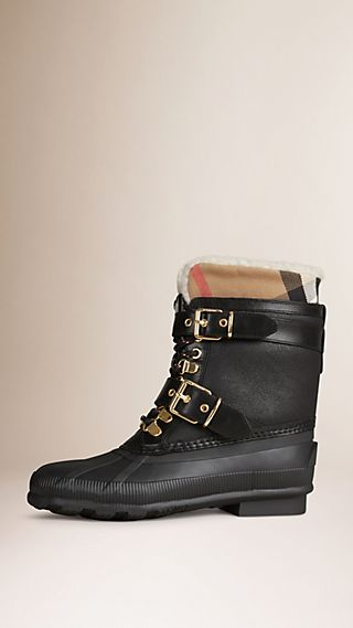 Duck boot in shearling scamosciato