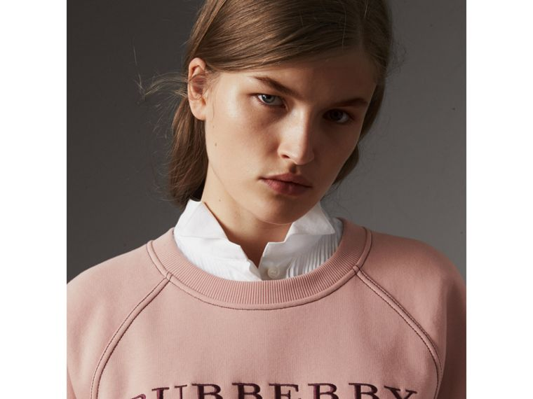 Embroidered Cotton Blend Jersey Sweatshirt in Ash Rose - Women | Burberry - cell image 1