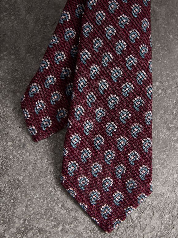 Slim Cut Paisley Silk Tie in Parade Red - Men | Burberry United Kingdom - cell image 1