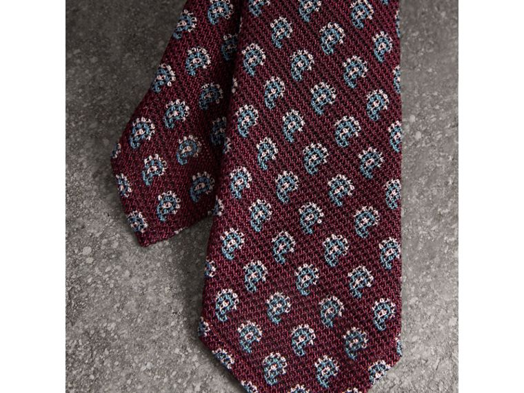 Slim Cut Paisley Silk Tie in Parade Red - Men | Burberry - cell image 1