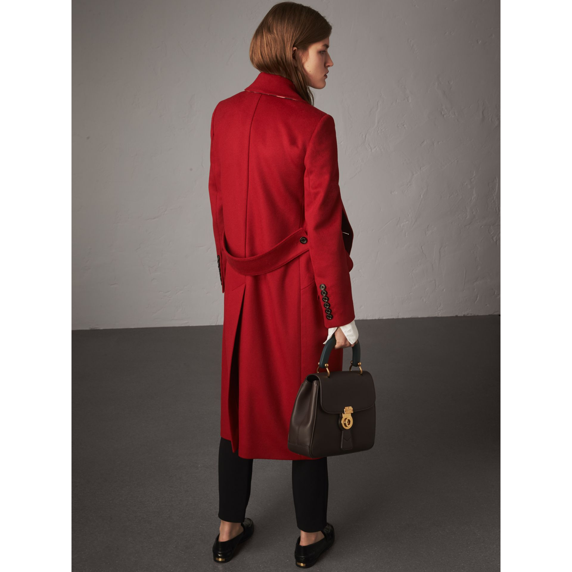 Ruffle Detail Wool Cashmere Tailored Coat in Military Red - Women | Burberry Australia - gallery image 3
