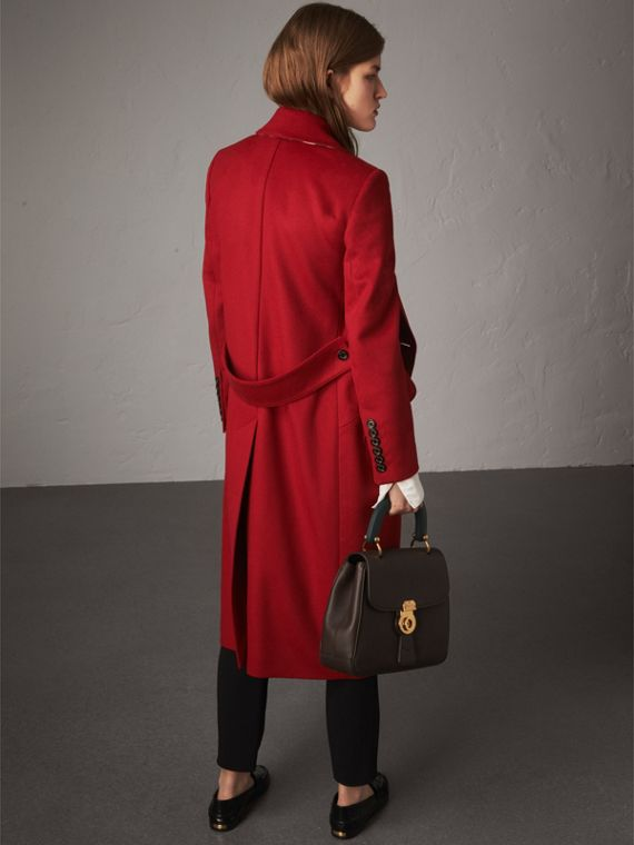 Ruffle Detail Wool Cashmere Tailored Coat in Military Red - Women | Burberry - cell image 2