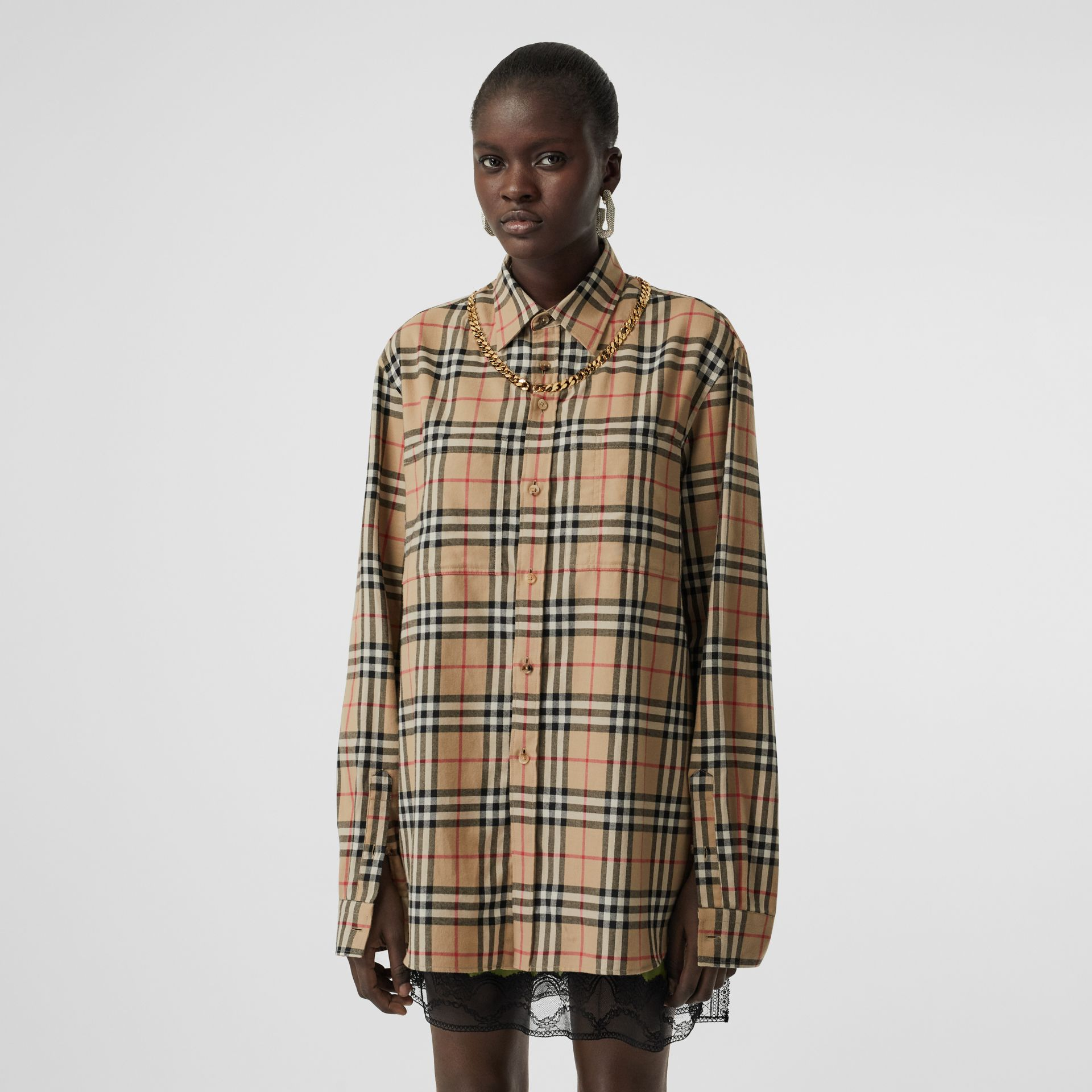 Chain Detail Vintage Check Cotton Flannel Shirt in Archive Beige - Women | Burberry Australia - gallery image 3