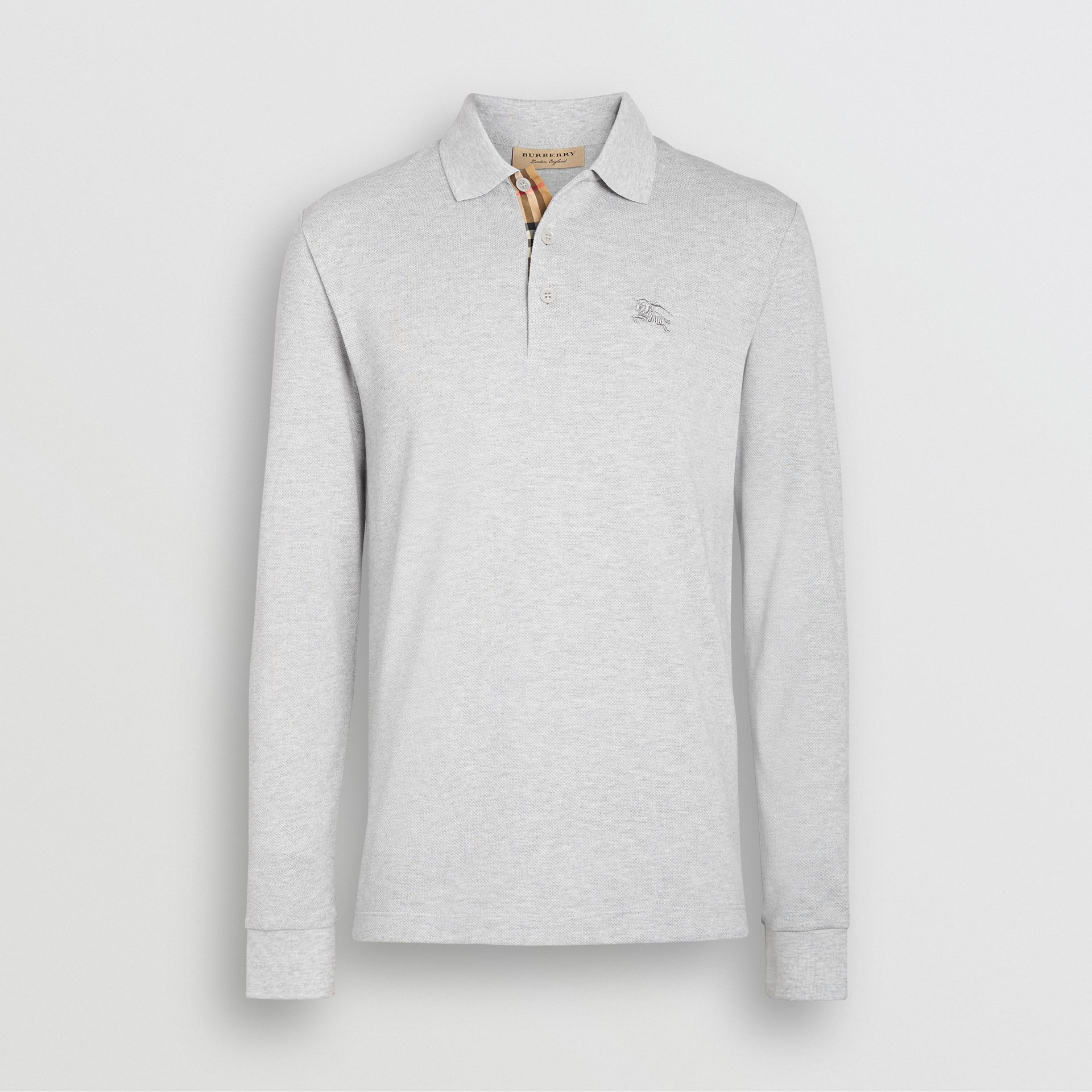 Long-sleeve Cotton Piqué Polo Shirt in Pale Grey Melange - Men | Burberry - gallery image 3