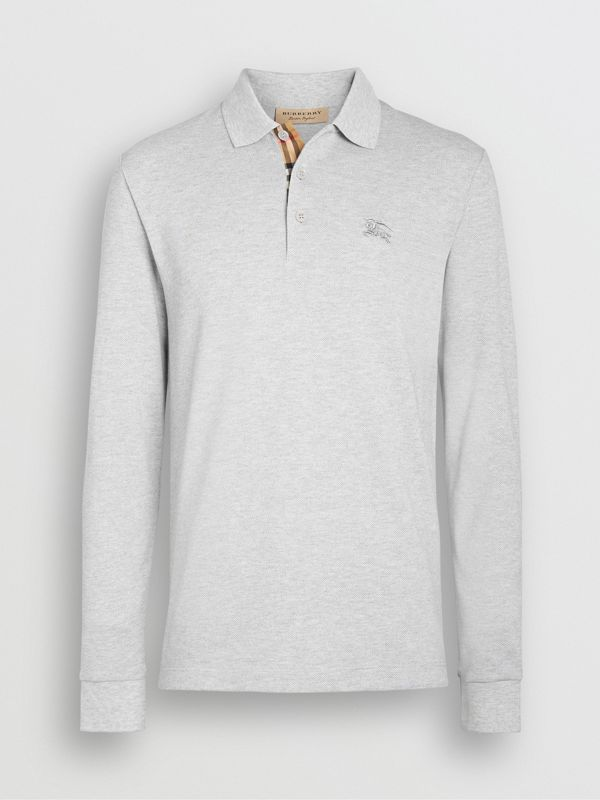 Long-sleeve Cotton Piqué Polo Shirt in Pale Grey Melange - Men | Burberry Australia - cell image 3