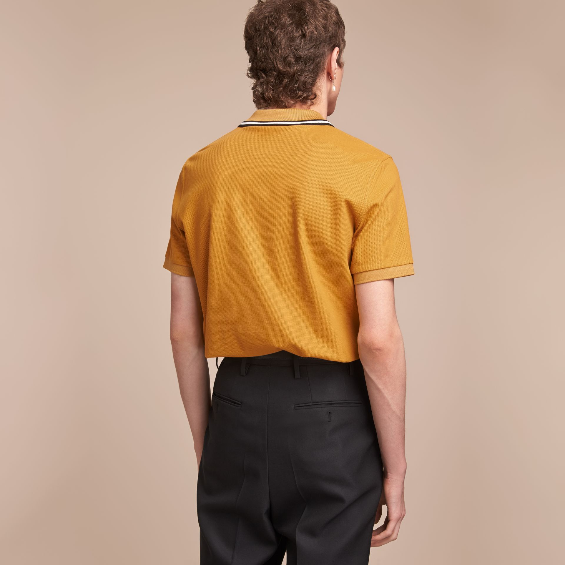 Striped Collar Cotton Piqué Polo Shirt in Saffron Yellow - Men | Burberry - gallery image 3