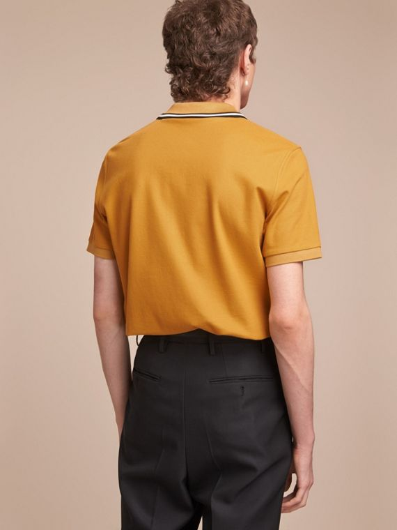 Striped Collar Cotton Piqué Polo Shirt in Saffron Yellow - Men | Burberry Canada - cell image 2