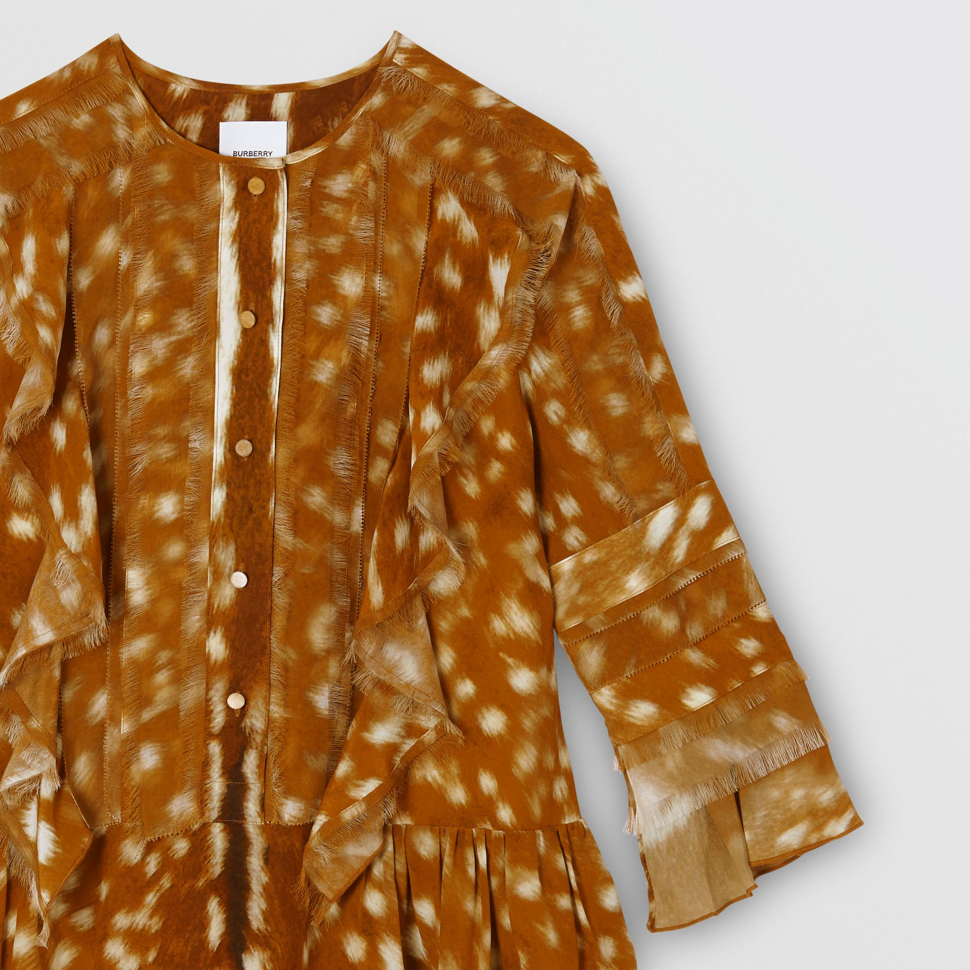 Ruffle Detail Deer Print Silk Dress in Honey | Burberry - gallery image 4