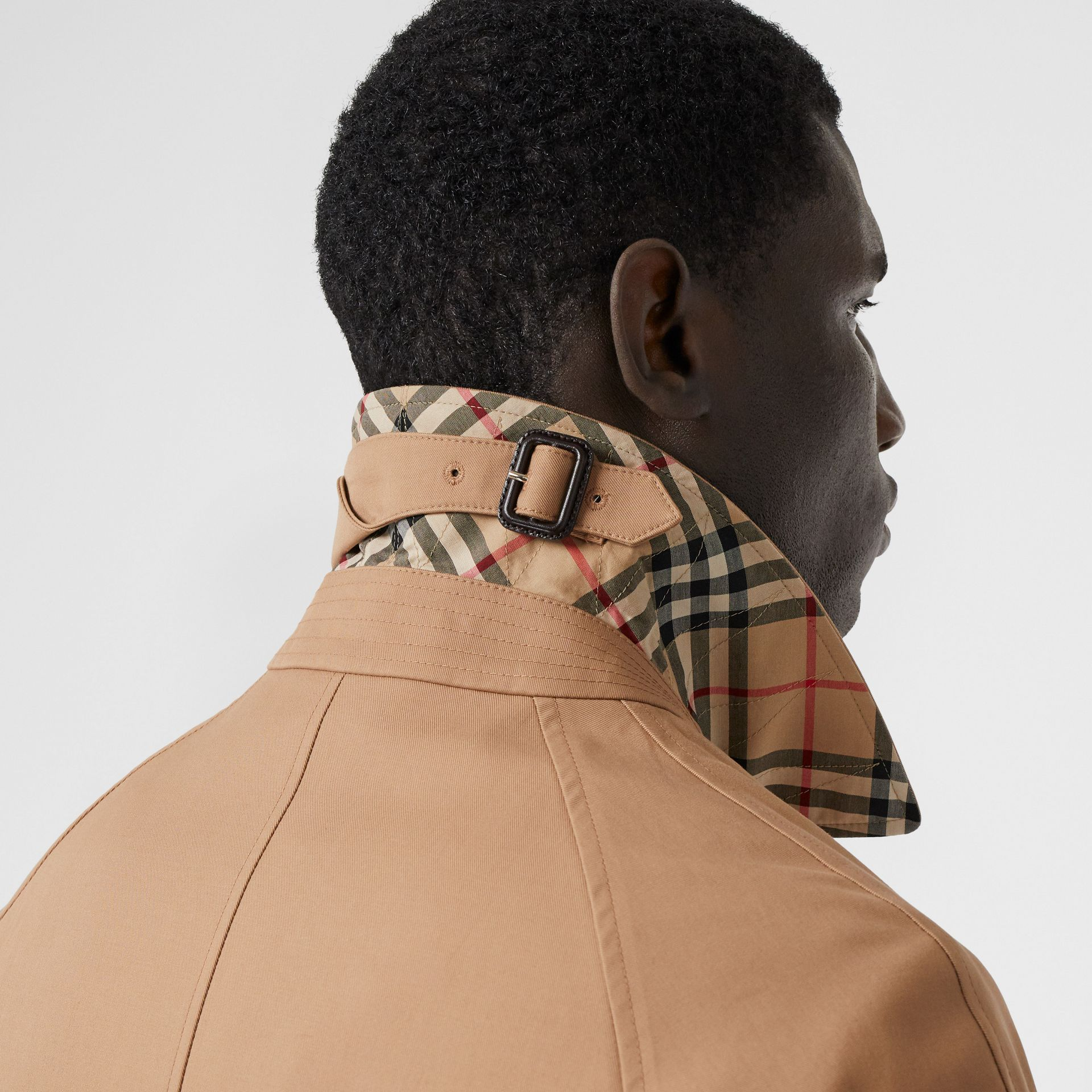 Logo Tape Cotton Car Coat in Warm Walnut - Men | Burberry - gallery image 4