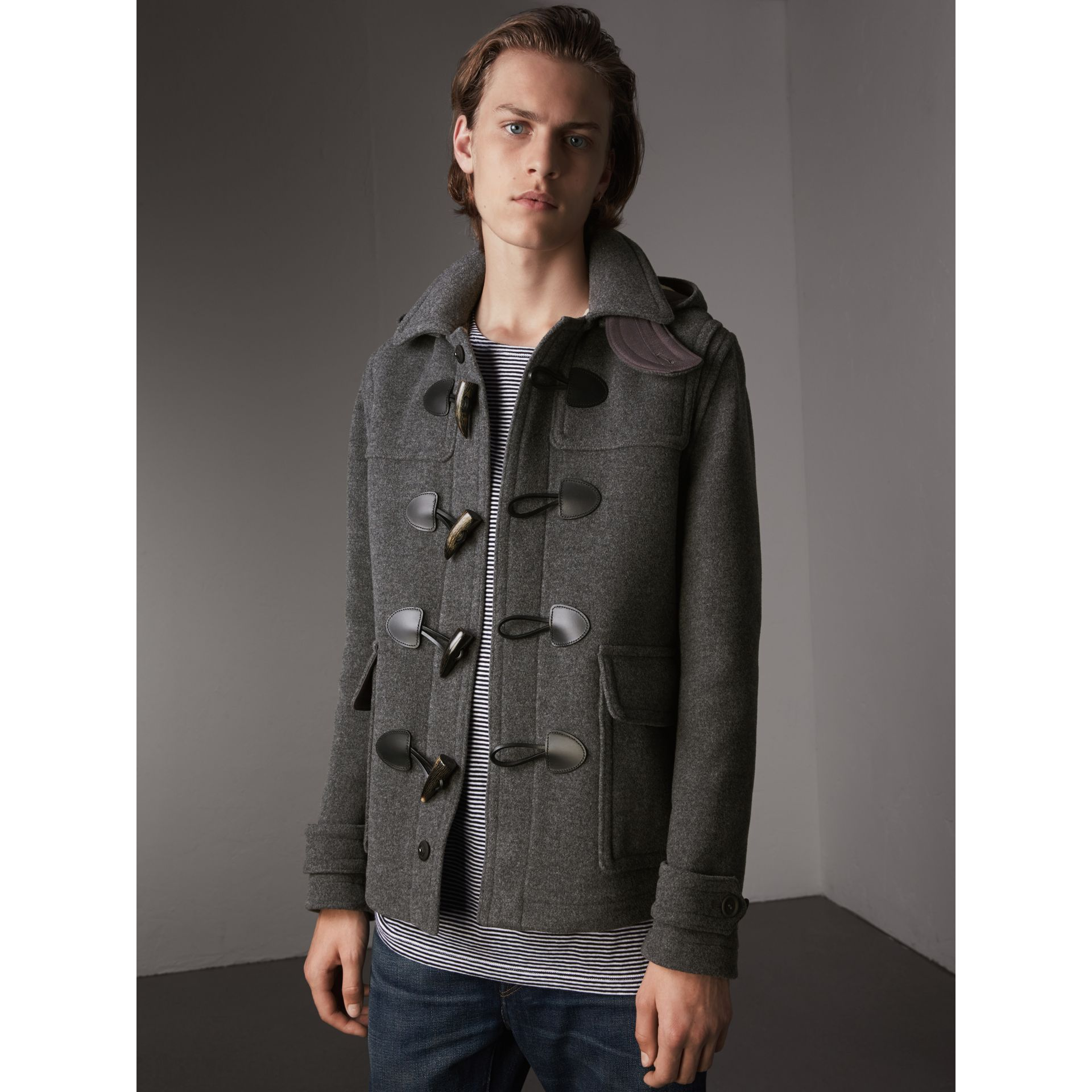 Wool Duffle Jacket with Detachable Hood in Mid Grey Melange - Men | Burberry - gallery image 1