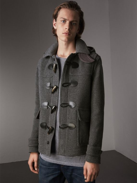Wool Duffle Jacket with Detachable Hood in Mid Grey Melange