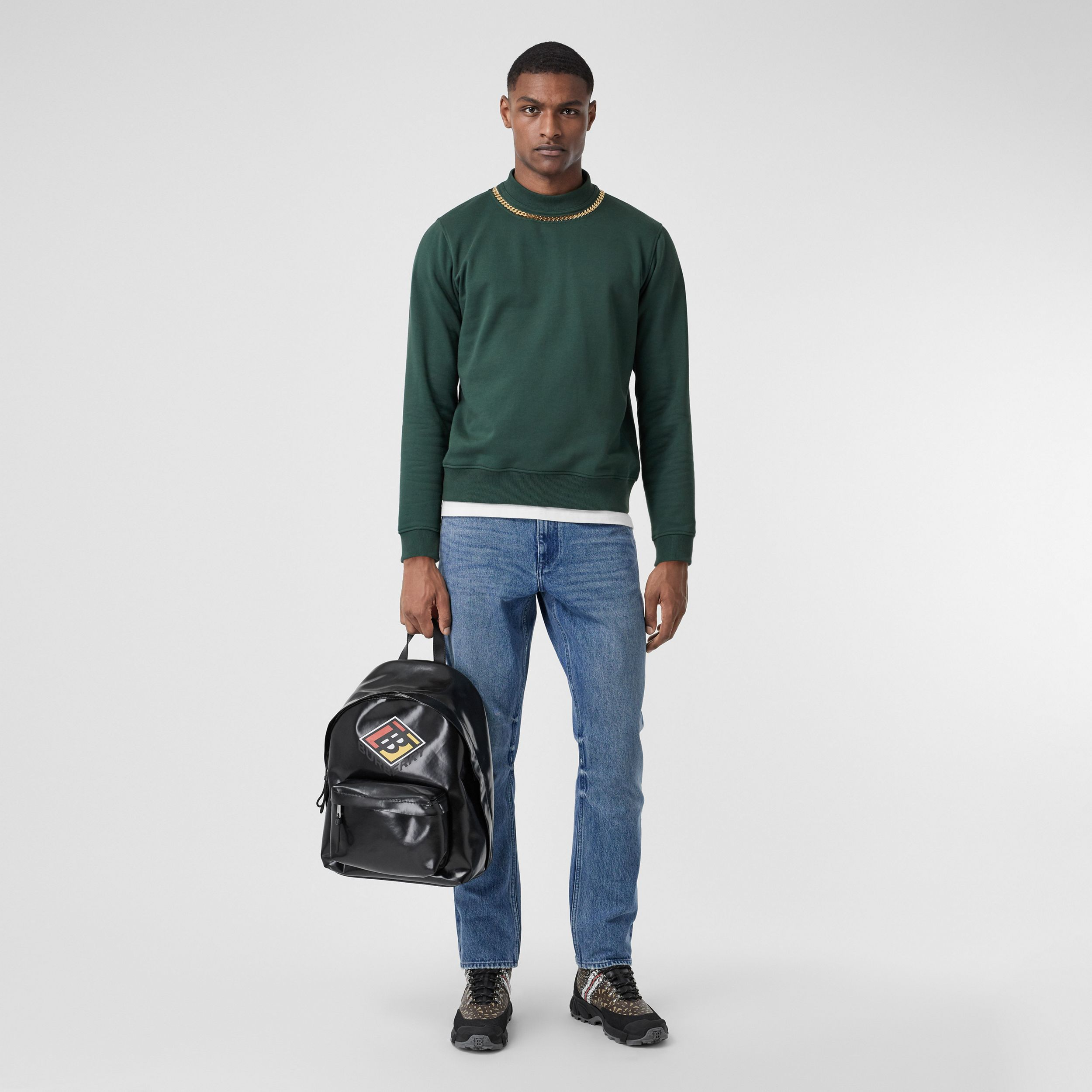 Straight Fit Distressed Denim Jeans in Light Indigo Blue - Men | Burberry - 1