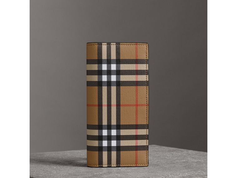 Vintage Check and Leather Continental Wallet in Antique Yellow/black - Men | Burberry - cell image 4