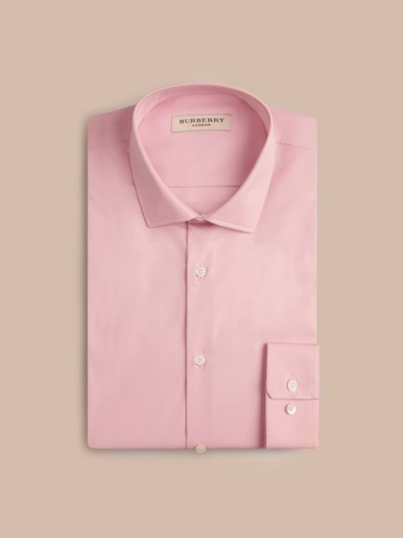 Slim Fit Stretch Cotton Poplin Shirt City Pink