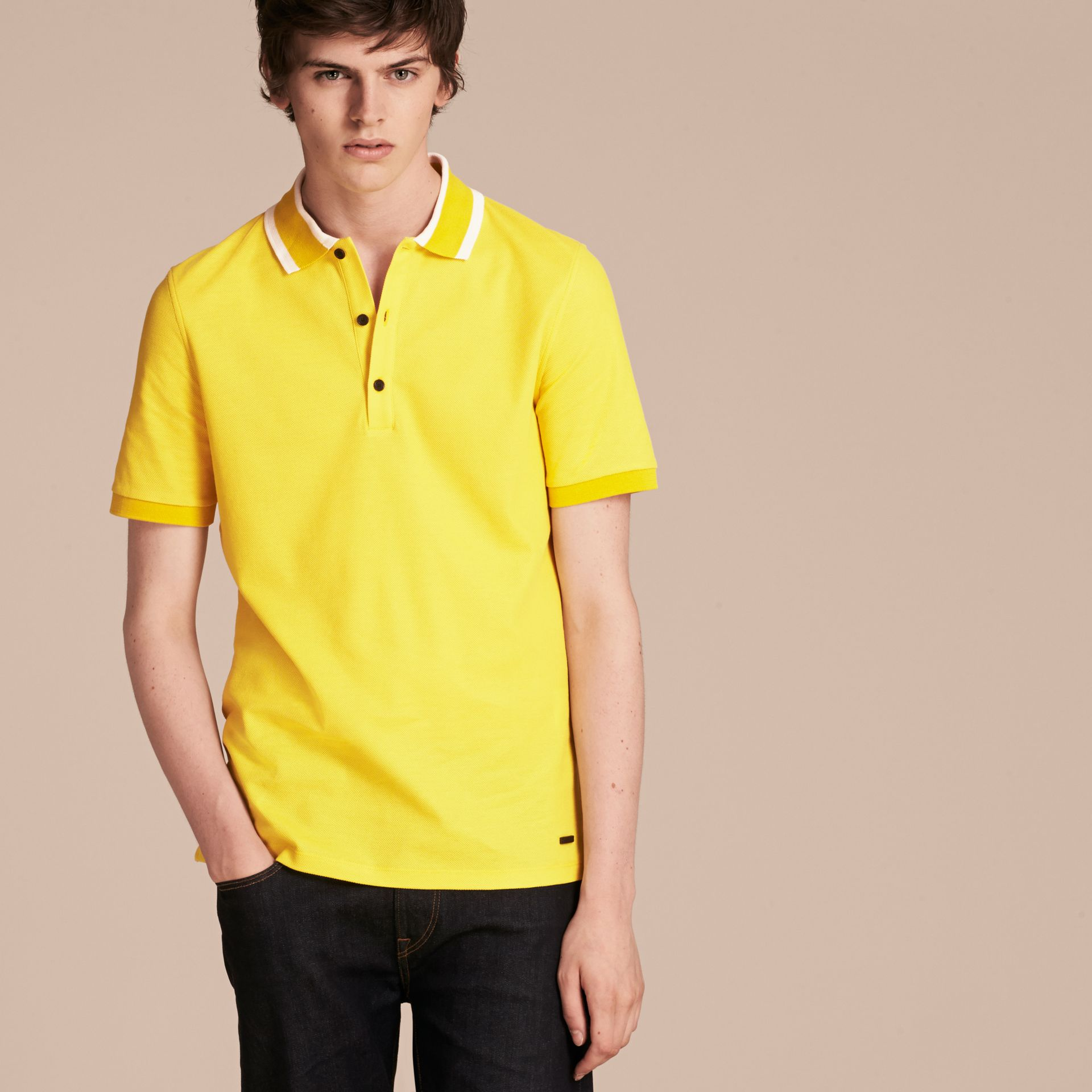 Striped Collar Cotton Piqué Polo Shirt in Daffodil - gallery image 6