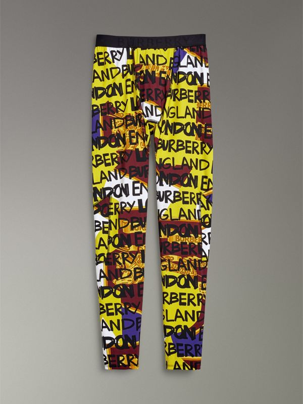 Graffiti Print Leggings in Bright Yellow - Men | Burberry - cell image 3