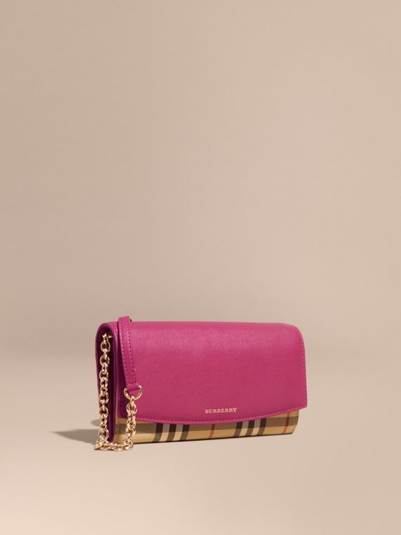 Horseferry Check and Leather Wallet with Chain Brilliant Fuchsia