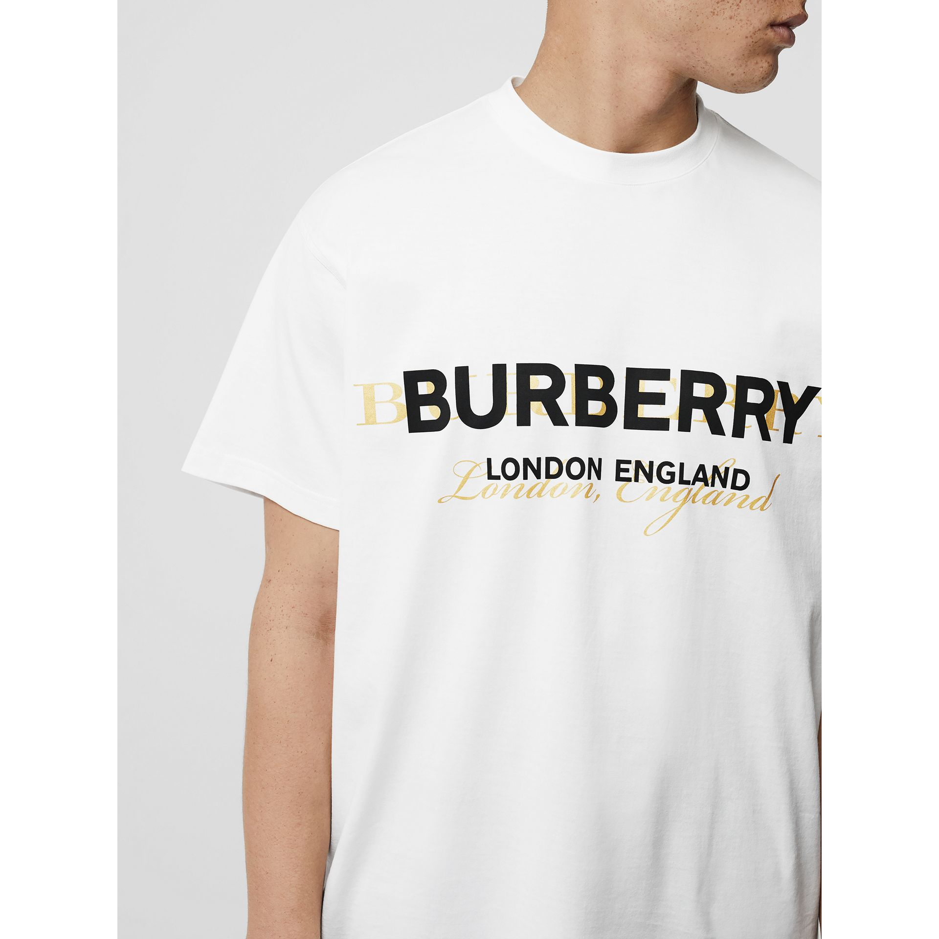 Double Logo Print Cotton T-shirt in White - Men | Burberry - gallery image 1