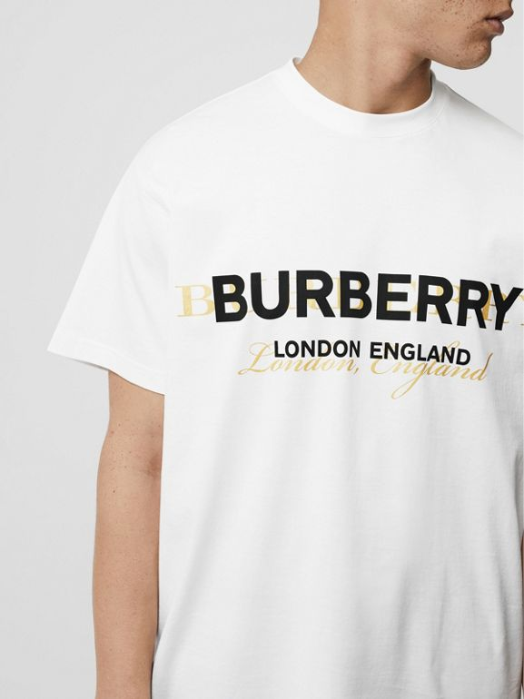 Double Logo Print Cotton T-shirt in White - Men | Burberry - cell image 1
